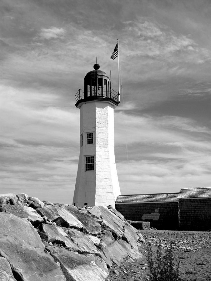 Lighthouse Black And White Photograph by Barbara McDevitt
