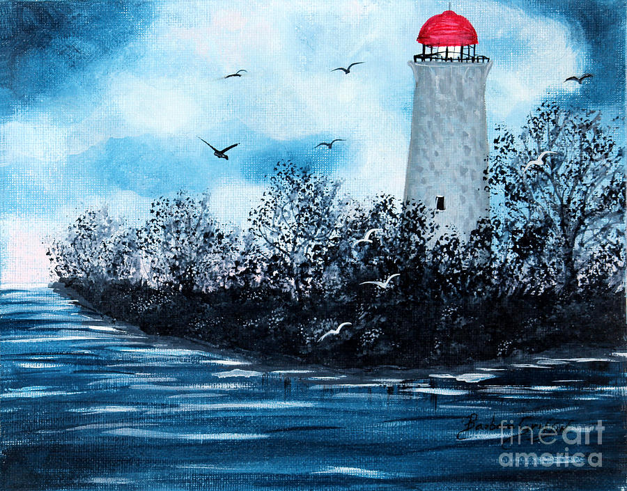 Barbara Griffin Painting - Lighthouse Blues by Barbara Griffin