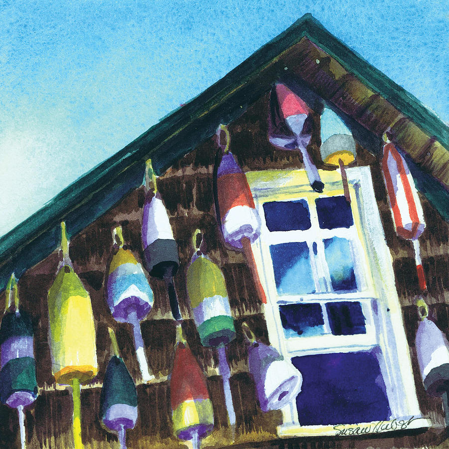 Lighthouse Painting - Lighthouse Buoys Maine by Susan Herbst