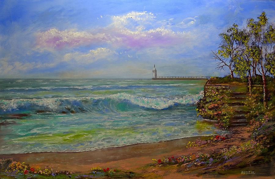Colorful Painting - Lighthouse By The Lake by Michael Mrozik