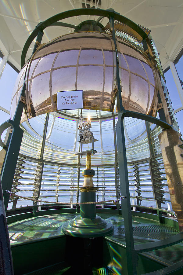 Yaquina Head Lighthouse Photograph - Lighthouse First Order Fresnel Lens by David Gn