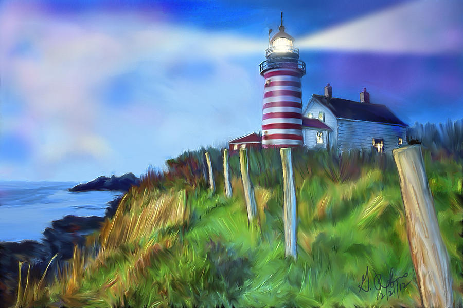 Lighthouse Painting - Lighthouse by Gerry Robins