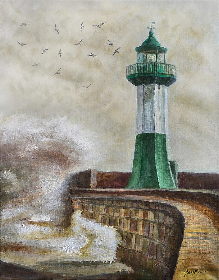 Lighthouse Painting - Lighthouse by Gynt Art