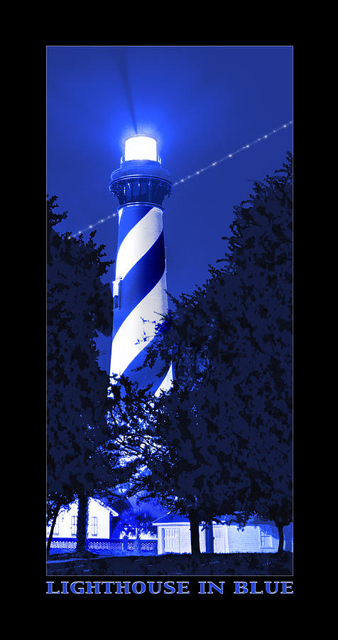 St. Augustine Lighthouse Photograph - Lighthouse In Blue by Mike McGlothlen