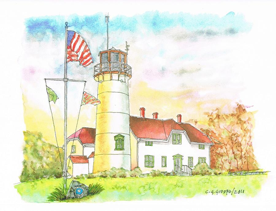 Lighthouse Painting - Lighthouse In Cape Code - Massachussetts by Carlos G Groppa