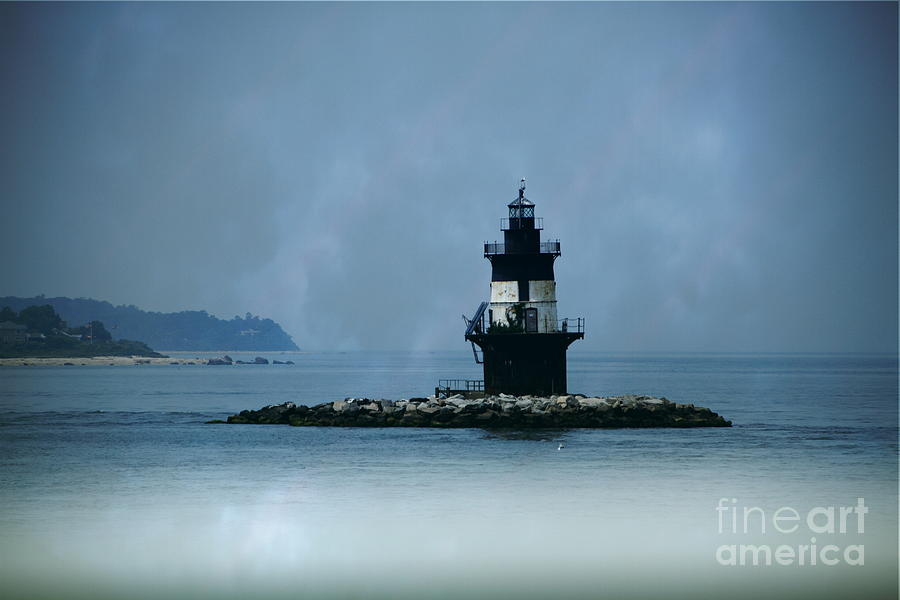 Lighthouse Photograph - Lighthouse In The Mist by Linda C Johnson
