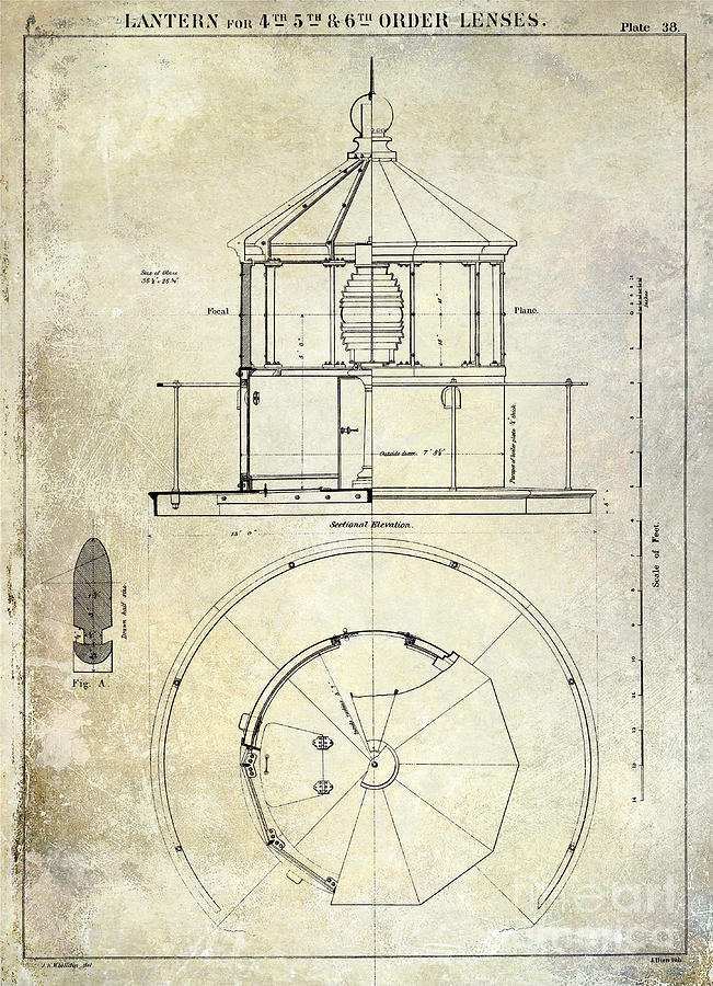 Lighthouse drawings fine art america lighthouse drawing lighthouse lantern order blueprint antique by jon neidert malvernweather Image collections