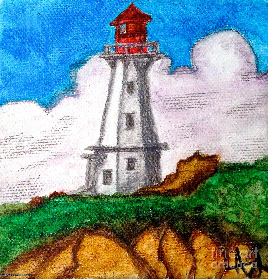 Blue Painting - Lighthouse Nova Scotia by Anita Lewis