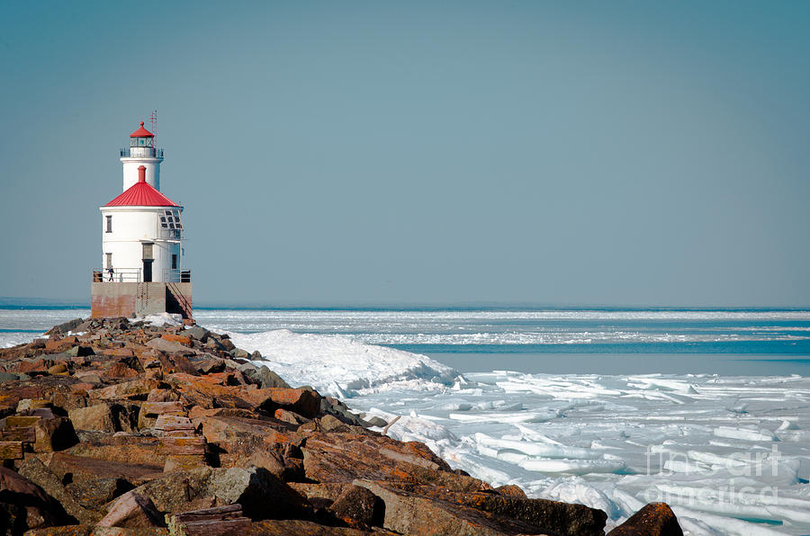Wisconsin Photograph - Lighthouse On Stone And Ice by Ever-Curious Photography