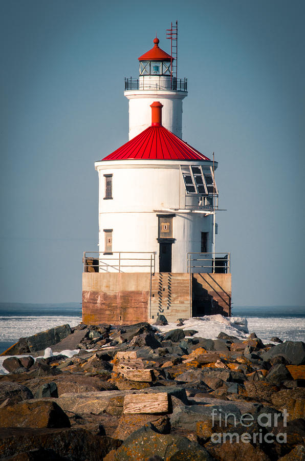 Wisconsin Photograph - Lighthouse On The Rocks by Ever-Curious Photography