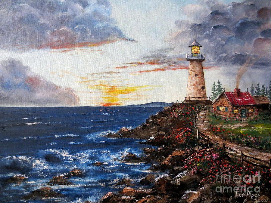 Seascape Painting - Lighthouse Road At Sunset by Lee Piper