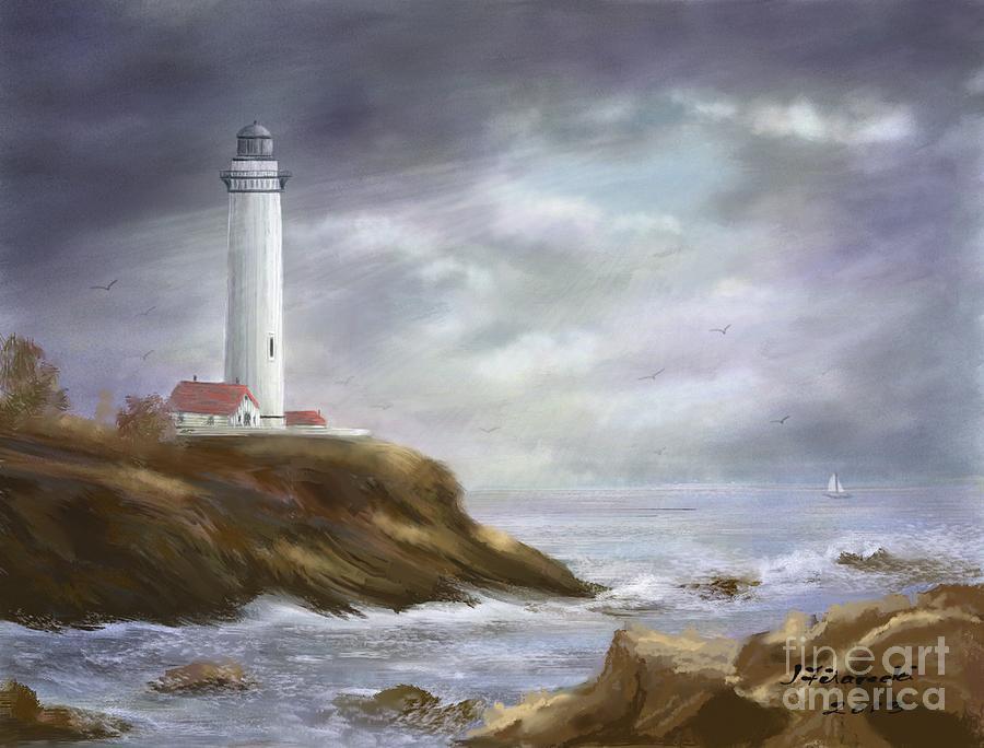 Lighthouse Painting - Lighthouse Stormy Sky Seascape by Judy Filarecki