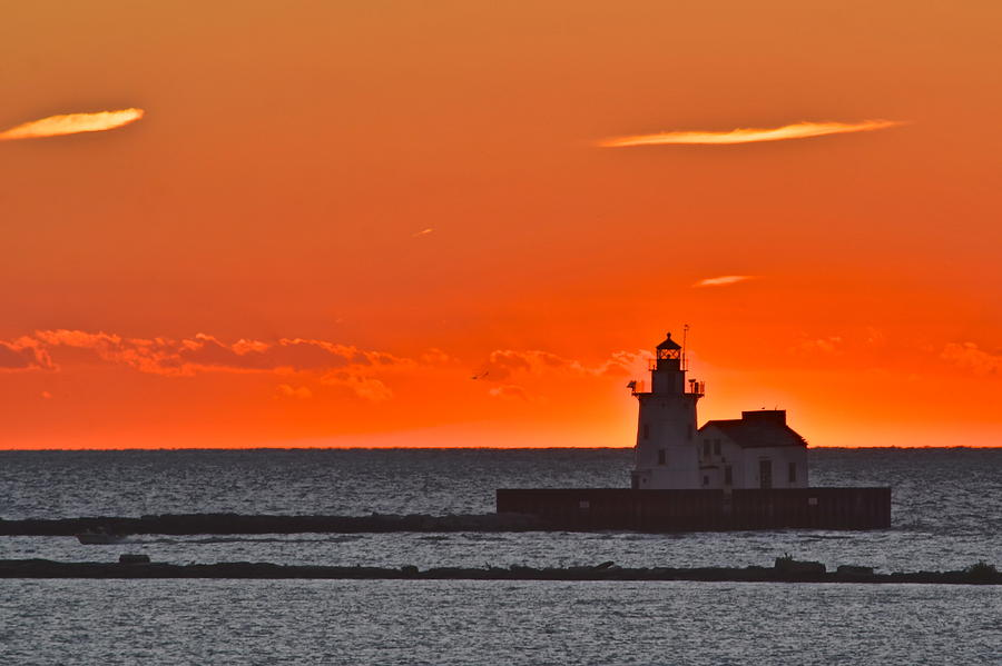 Beacon Photograph - Lighthouse Sunset by Frozen in Time Fine Art Photography
