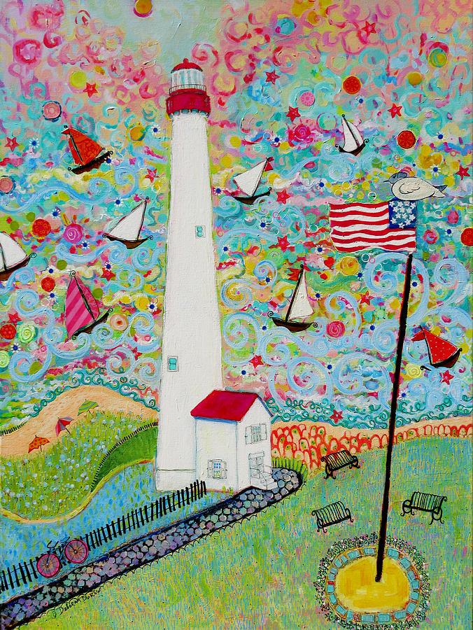 Lighthouse Painting - Cape May Point Lighthouse Magic by Deborah Burow