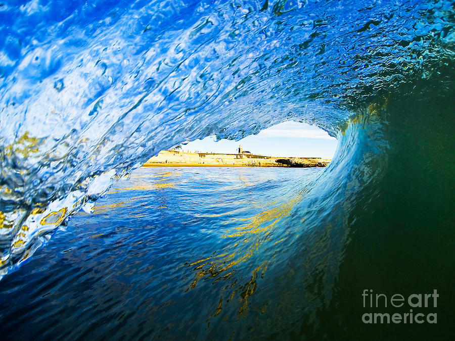Waves Photograph - Lighthouse Wave 2 by Paul Topp