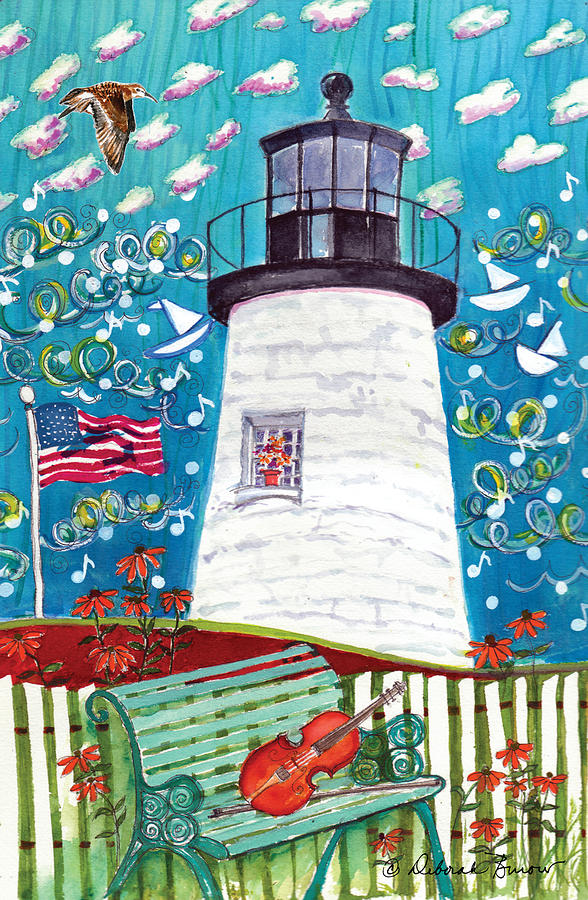 Pemaquid Point Lighthouse Painting - Lighthouse With Music by Deborah Burow
