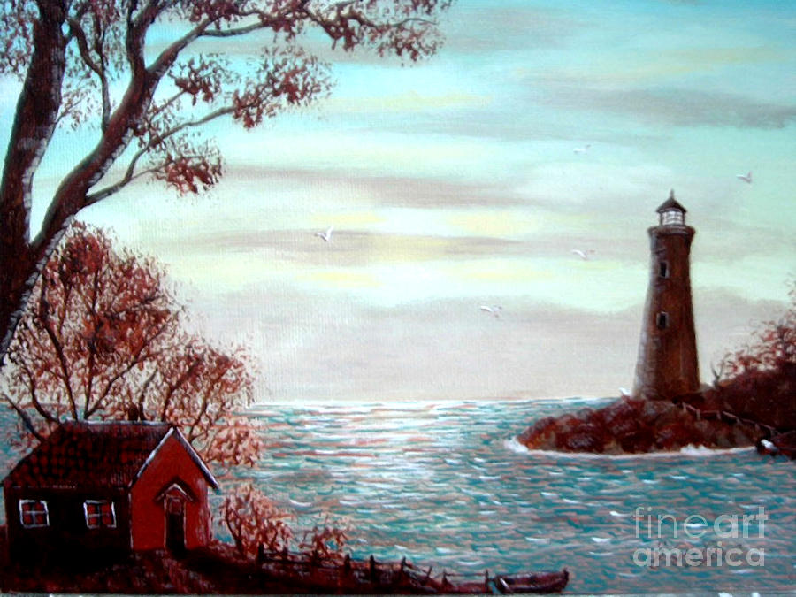Lighthouse Keeper Painting - Lighthousekeepers Home by Barbara Griffin