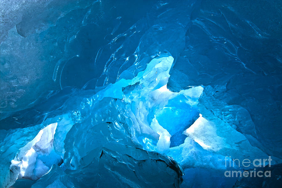 Winter Photograph - Lighting In Nigardsbreen Glacier Grotto 3 by Heiko Koehrer-Wagner