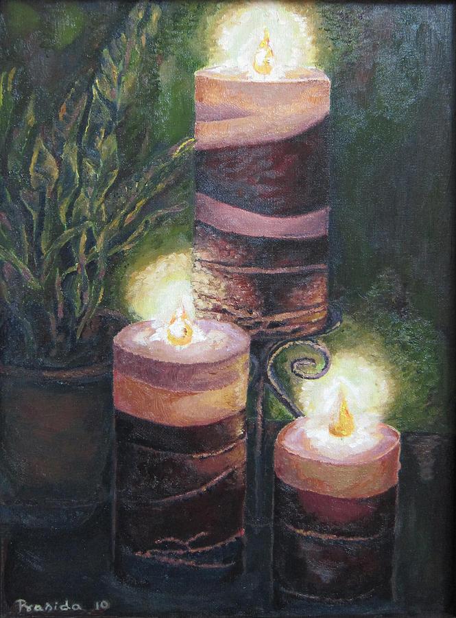 Candles Painting - Lighting The Dark Corners by Prasida Yerra