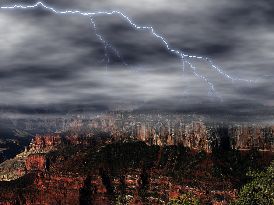 Landscape Digital Art - Lightning - North Rim Of Grand Canyon by Clifford Pugliese