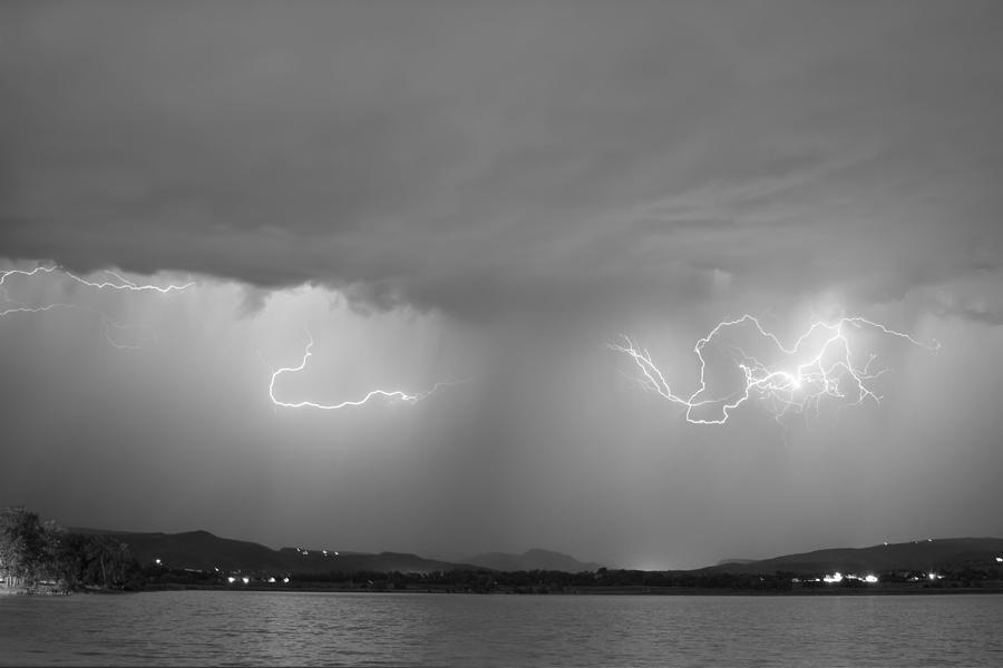 Lightning Photograph - Lightning And Rain Over Rocky Mountain Foothills Bw by James BO  Insogna