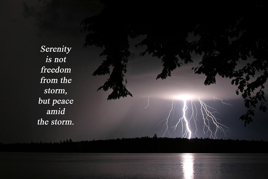 Lightning At Night Inspirational Quote Photograph By Barbara West