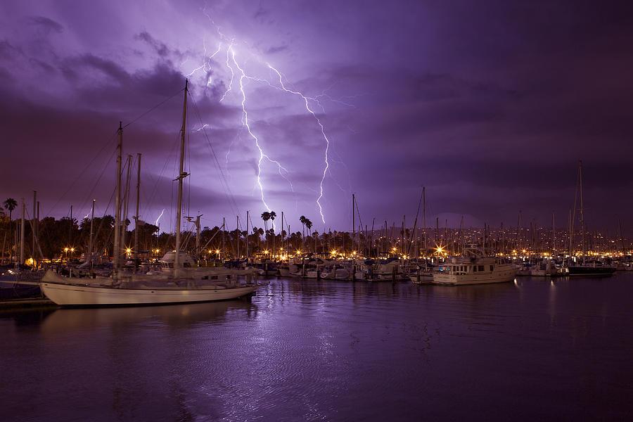 Orias Photograph - Lightning Behind Santa Barbara Harbor  MG_6541 by David Orias