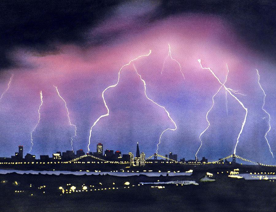 Bay Bridge Painting - Lightning On The Bay Bridge by Janaka Ruiz