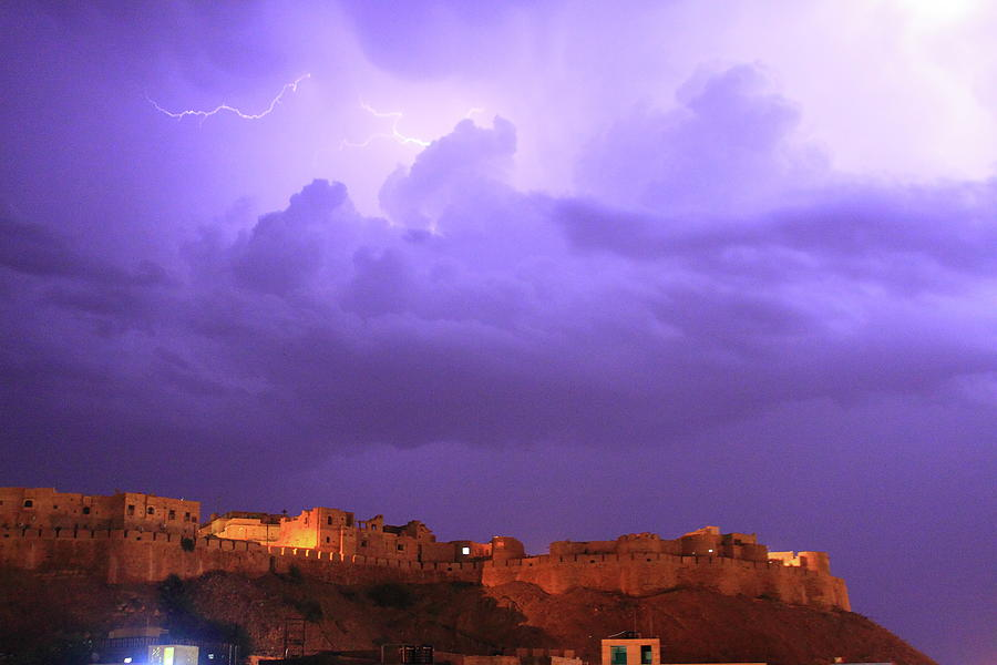 Lightning Over Jaisalmer Fort Photograph by Mark Hollowell