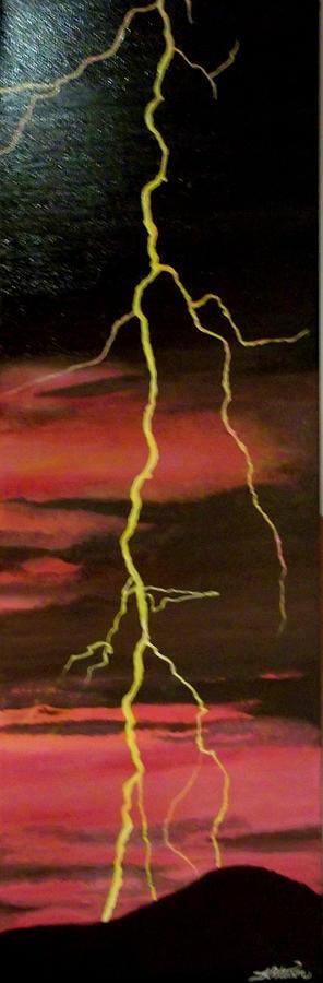 Scenery Painting - Lightning Sky by Teresa  Peterson