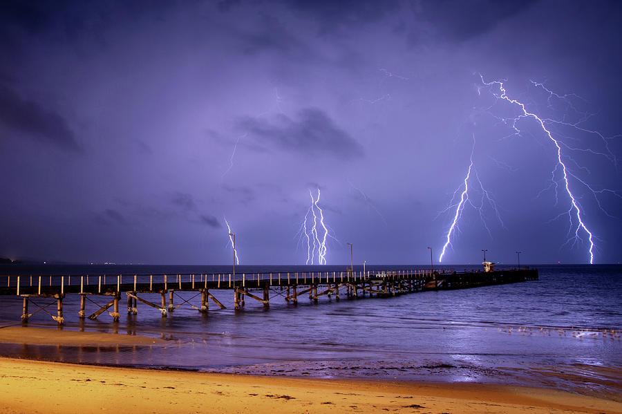Lightning Storm At Port Lincoln. South Photograph by John White Photos