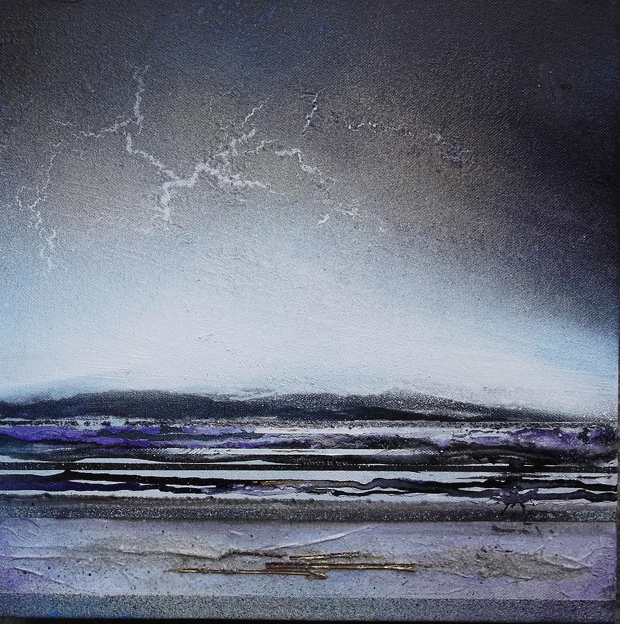 Storm  Mixed Media - Lightning Storm Druridge Bay 1 by Mike   Bell