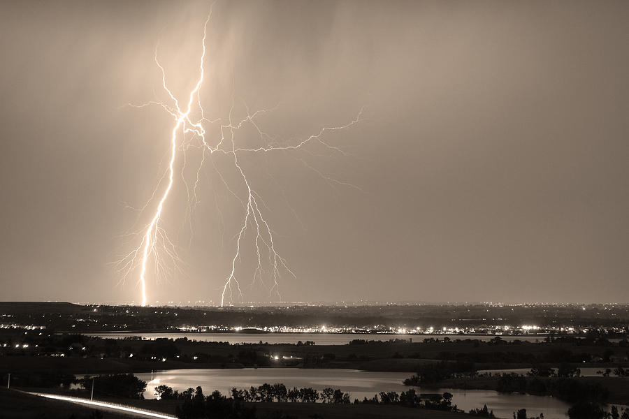 Lightning Photograph - Lightning Strike Boulder Reservoir And Coot Lake Sepia by James BO  Insogna