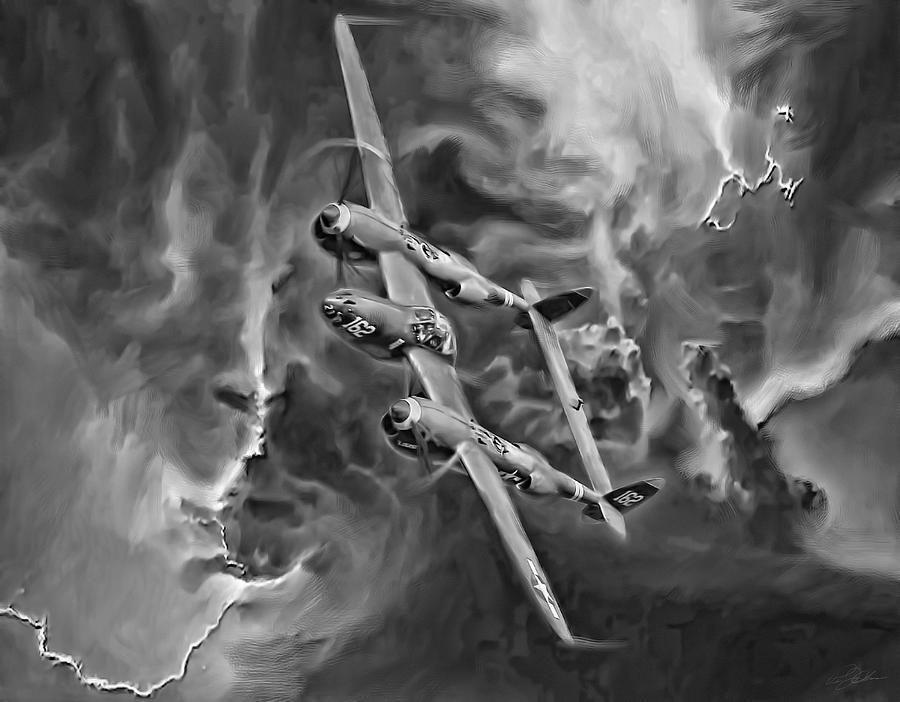 P-38 Lightning Digital Art - Lightning Strike-bw by Peter Chilelli