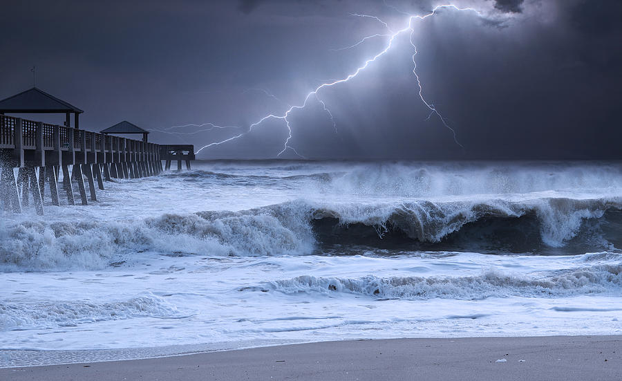 Beach Photograph - Lightning Strike by Laura Fasulo