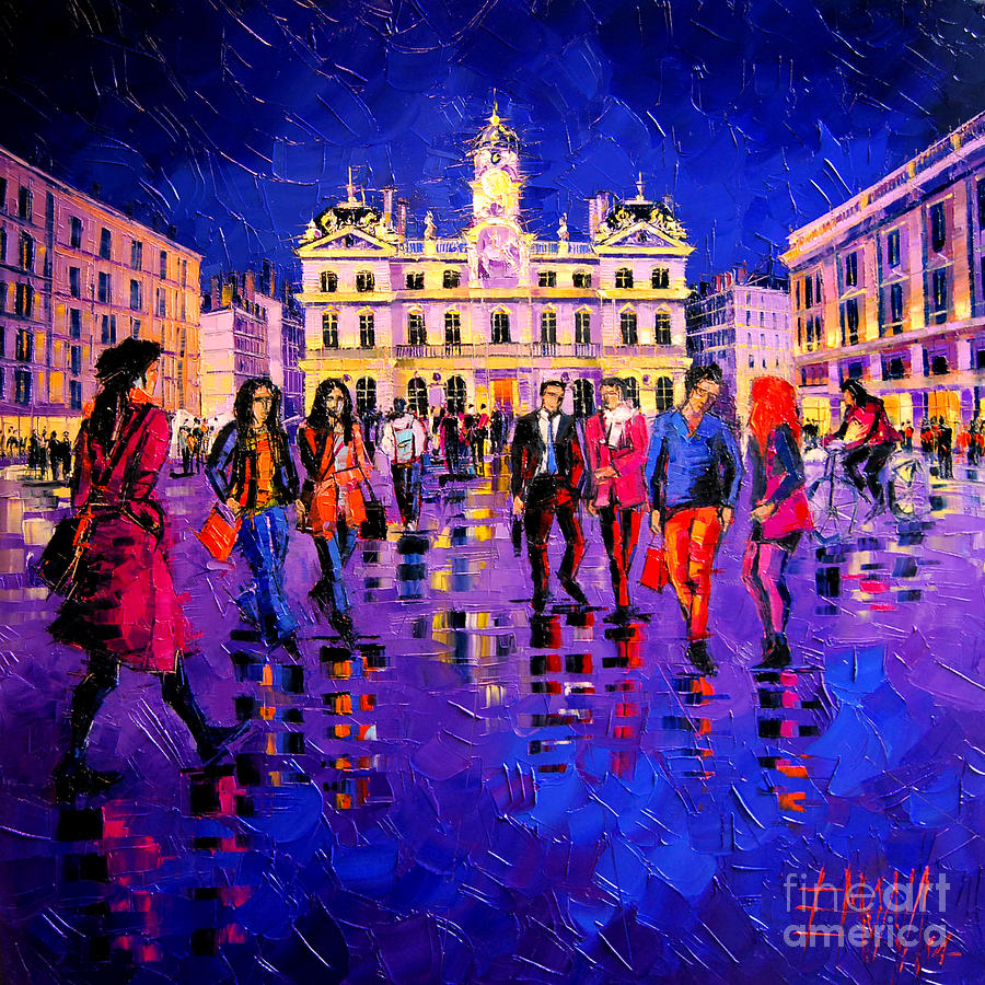 Light Painting - Lights And Colors In Terreaux Square by Mona Edulesco