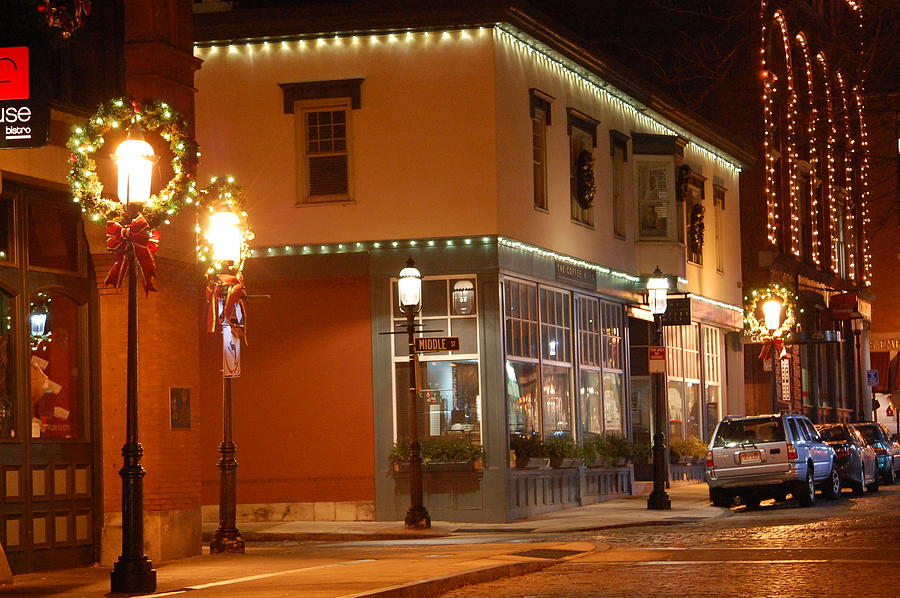 Lights Lowell MA At Christmas by Mary McAvoy
