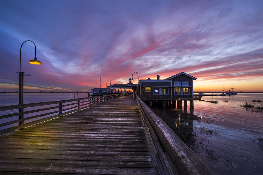Clouds Photograph - Lights On The Dock by Debra and Dave Vanderlaan
