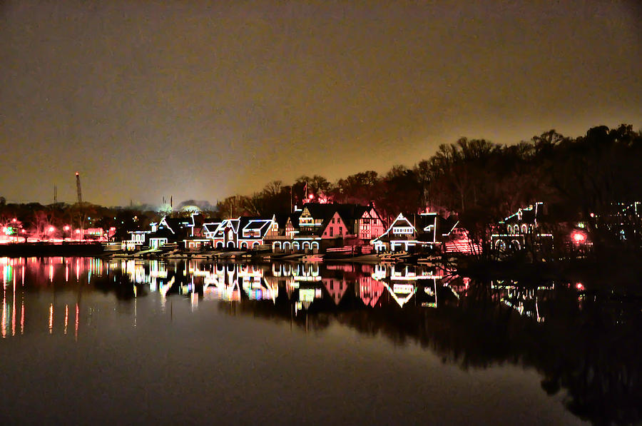 Boathouse Row Photograph - Lights On The Schuylkill River by Bill Cannon