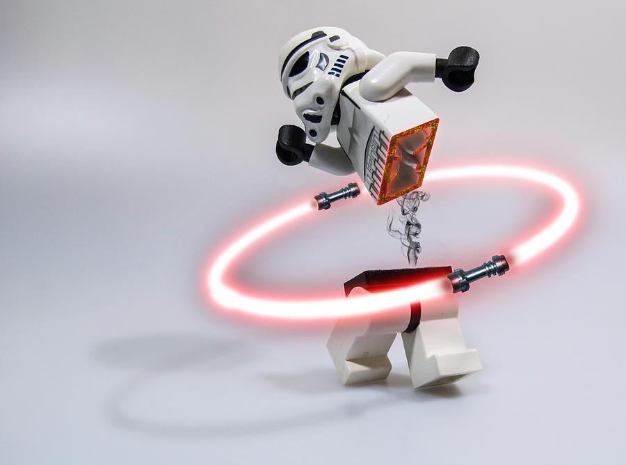 Lego Digital Art - Lightsaber Hula Oops by Randy Turnbow