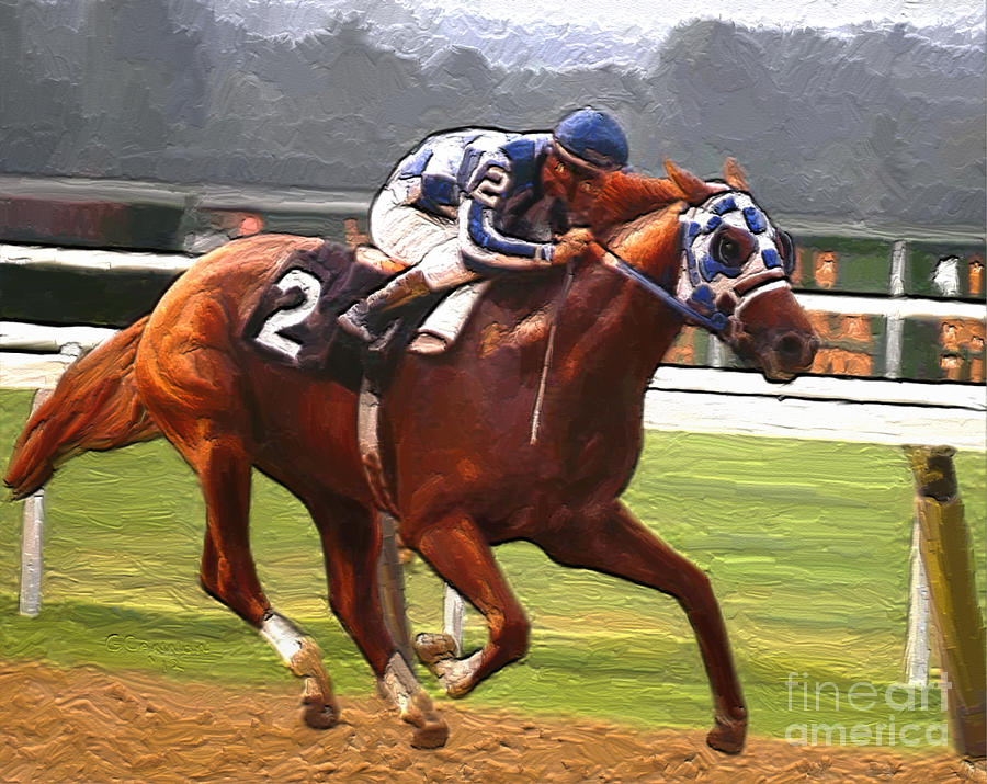 Secretariat Painting - Like A Tremendous Machine by G Cannon