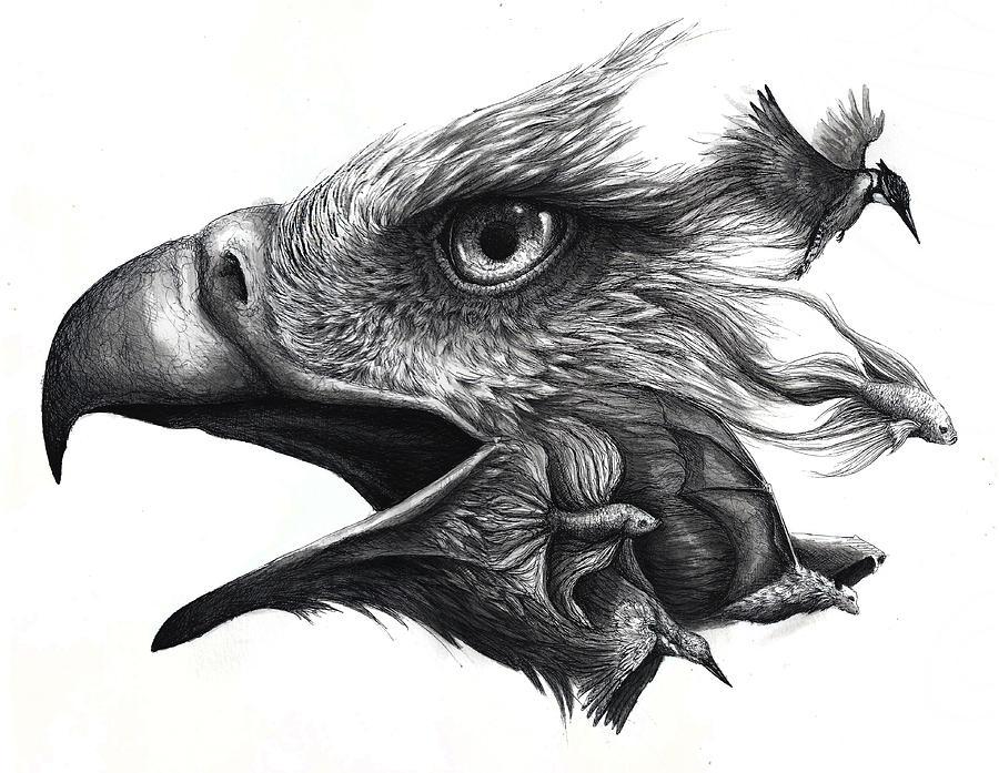 Bird Painting - Like Smoke by Danielle Trudeau