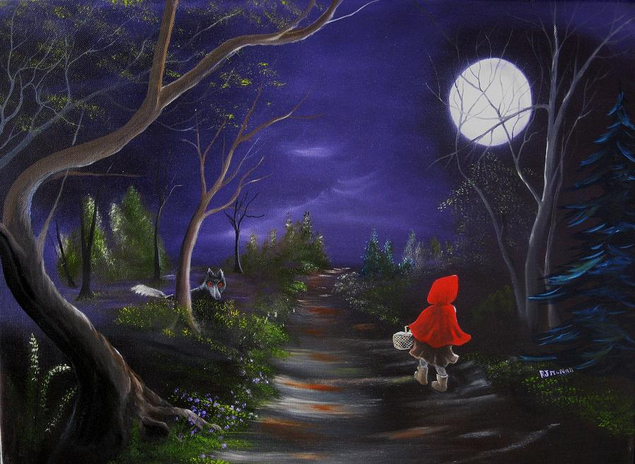Fantasy Painting - Lil Red Riding Hood by RJ McNall