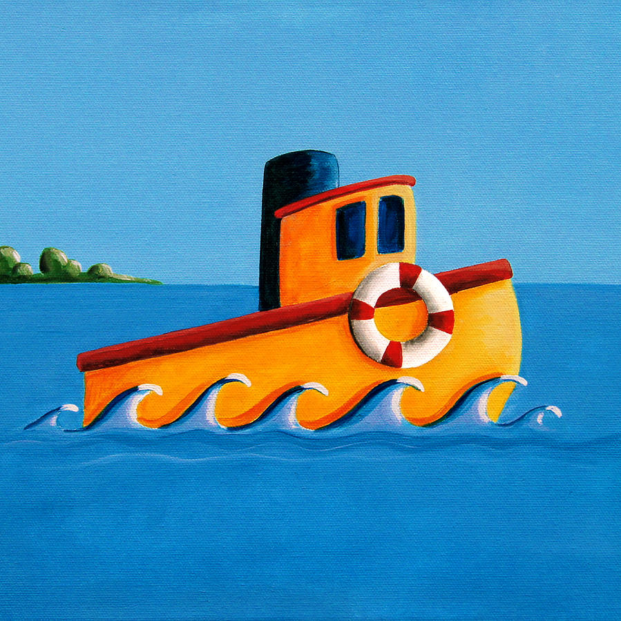 Water Painting - Lil Tugboat by Cindy Thornton