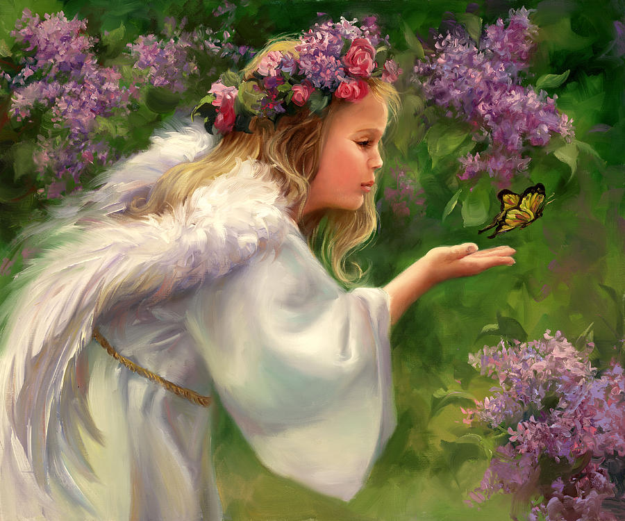 Angel Painting - Lilac Angel by Laurie Snow Hein