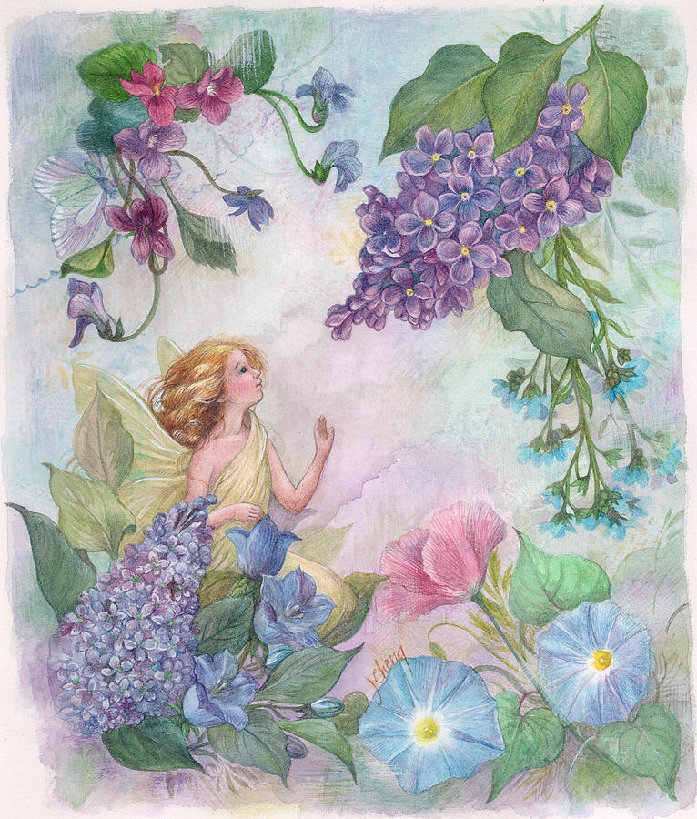 Enchanting Painting - Lilac Enchanting Flower Fairy by Judith Cheng
