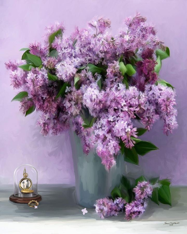 Lilac Spring Painting By Yvonne Della Moretta