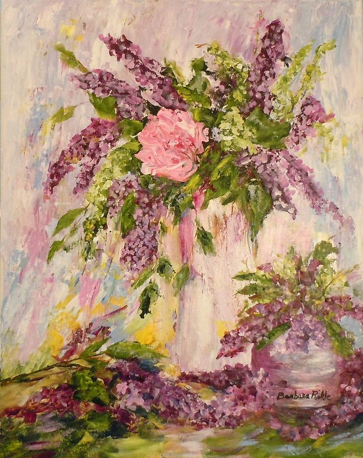 Lilacs Painting - Lilacs And Peony by Barbara Pirkle