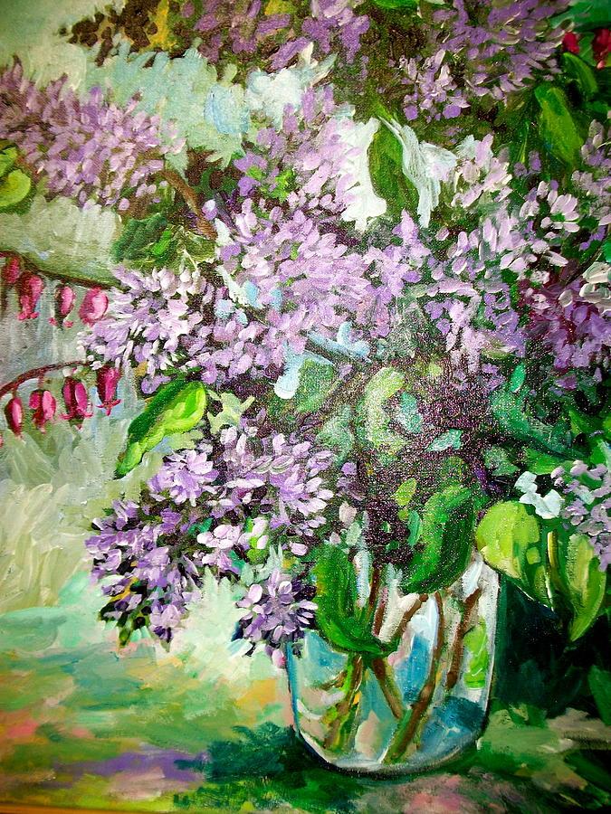 Lilacs Painting - Lilacs by Carol Mangano