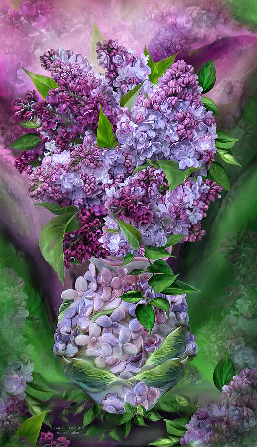Lilacs In Lilac Vase by Carol Cavalaris